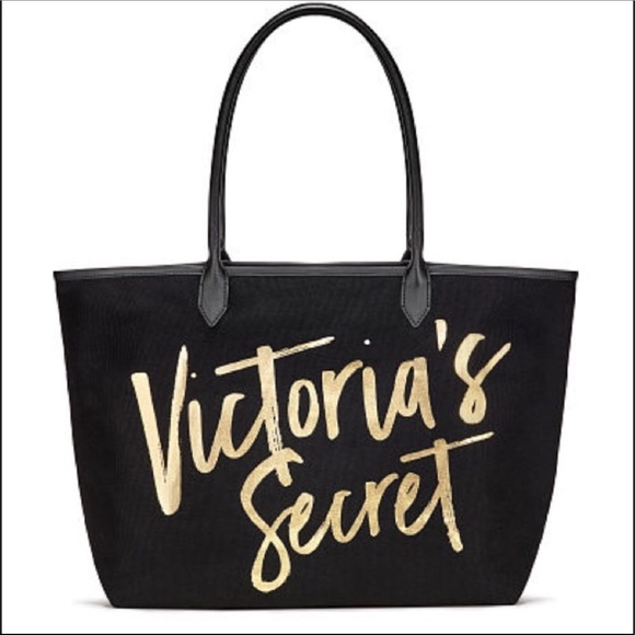 a747ca834e2df6 Victoria's Secret Bags | Nwt Victorias Secret Black And Gold Tote ...